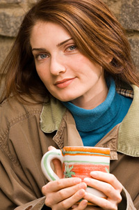 sophisticated woman with coffee cup